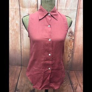 J crew sz xs linen button down sleeveless top